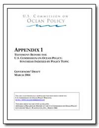 Appendix 1 Testimony before the U. S. Co... by