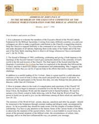 Address to the World Catholic Federation... by Papal Encyclicals