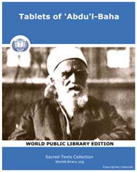 Tablets of 'Abdu'L-baha, Score Bhi Tab03 Volume Vol. I by Sacred Texts
