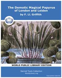 The Demotic Magical Papyrus of London an... by Griffith, F. Ll.