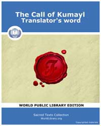 Call of Kumayl Translator's Word by Classic Sacred Texts