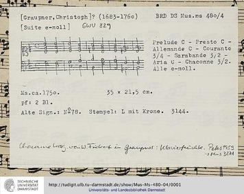 Suite in E minor, GWV 829 : Complete Sco... Volume GWV 829 by Graupner, Christoph