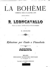 La bohème (Commedia lirica in quattro at... by Leoncavallo, Ruggiero