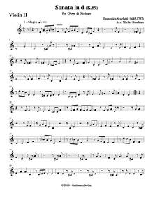 Keyboard Sonata in D minor, K.89 : Violi... Volume K.89 by Scarlatti, Domenico