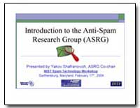 Introduction to the Anti-Spam Research G... by Shafranovich, Yakov