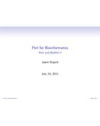 Perl for Bioinformatics Perl and Bioperl... by Stajich, Jason
