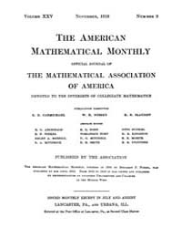 The American Mathematical Monthly : 1918... Volume Vol. 25 by Chapman, scott