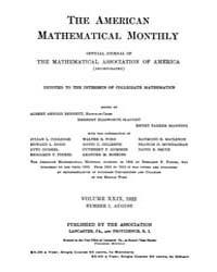 The American Mathematical Monthly : 1922... Volume Vol. 29 by Chapman, scott